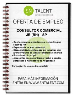#Empleo #Consultor Comercial Jr (RH) en #Brasil SP