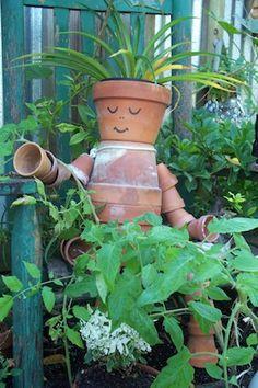 Garden accent ~ Clay Pot Sculpture