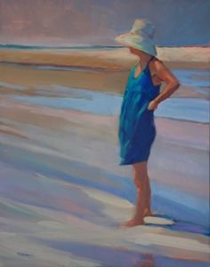 'The Lookout' figurative oil painting of a woman at the beach by Maryann Lucas Beach Paintings, Watercolor Paintings, Watercolours, Oil Paintings, Beach Canvas, Beach Art, Painting For Kids, Figure Painting, Seaside Art