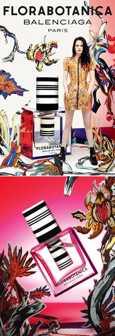 BALENCIAGA PARIS PARFUM PERFUME FRAGRANCE  FLORABOTANICA AD CAMPAIGN STRIPED BOTTLE KRISTEN FACE FACIAL EXPRESSION PRINT STATEMENT SHOULDER STRUCTURED BALLOON DRESS CUT OUT LEATHER STUDDED BOOTS