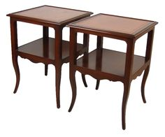 Mahogany Leather Top End Tables $295 - Niles http://furnishly.com/catalog/product/view/id/5066/s/mahogany-leather-top-end-tables/