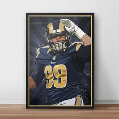 Aaron Donald  Los Angeles Rams  Nfl  Nfl poster by TroutLifeStudio