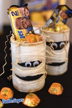 No party is complete without some spirited decorations and party favors, especially at Halloween! These Yummy Mummies are the perfect way to hand out candy to your guests and can be made with some gauze and an upcycled aluminum can. Fill these spooky containers up with plenty of NEW BUTTERFINGER® peanut butter cup minis and skulls—your guests are sure to love them.
