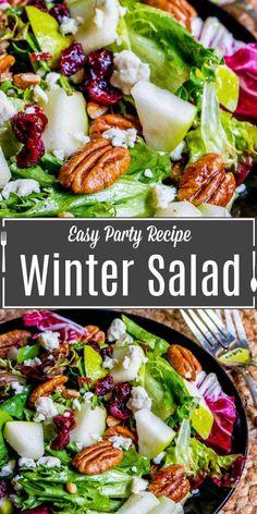 Winter Salad Recipes, Christmas Salad Recipes, Fresh Salad Recipes, Side Salad Recipes, Vegetarian Salad Recipes, Salad Recipes For Dinner, Dinner Salads, Side Dish Recipes, Side Dish Salad