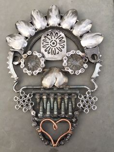 Sugar Skull Day of the Dead Metal Art by RavenMetalWorks on Etsy