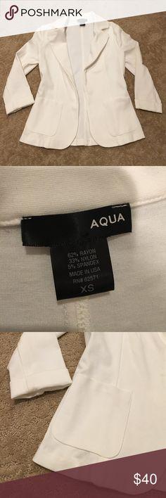 White AQUA blazer! White AQUA brand blazer- no tags but never worn. Perfect condition. Goes with everything! Aqua Tops Blouses