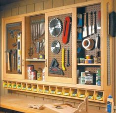great pegboard storage ideas for the workbench                                                                                                                                                                                 More