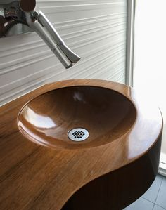 A durable epoxy based finish protects this wooden basin with integrated vanity. Vintage Bathroom Vanities, Floating Bathroom Vanities, Bathroom Vanity Tops, Wood Bathroom, Single Bathroom Vanity, Small Bathroom, Bathrooms, Wood Sink, Simple House