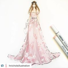"""#Repost @hnicholsillustration with @repostapp. @zuhairmuradofficial sketched using @copicmarker and acrylics #zuhairmurad #zuhairmuradcouture #pfw…"""