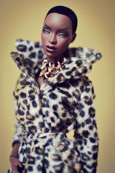 Fly black barbie in leopard