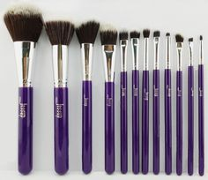 Jessup 12Pcs Purple/Silver Makeup Brushes Set Kabuki Foundation Brushes Tools Us