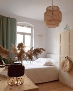 modern neutral master bedroom decor with rattan chandelier, scandinavian bedroom decor, boho bedroom ideas Bedroom Green, Home Bedroom, Bedroom Decor, Modern Bedroom, Bedroom Ideas, Bedroom Designs, Ikea Bedroom, Bedrooms, Bedroom Lighting
