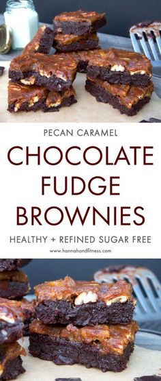 Healthy pecan caramel and chocolate fudge brownies. A delicious, paleo, grain free, fudge chocolate brownie recipe that's full of healthy ingredients. These incredibly fudge brownies are easy to make and come with a pecan caramel layer made with just dates, water and pecans! Give this quick healthy dessert recipe a go!