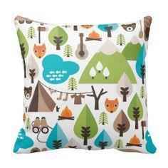 Cute retro fox wildlife pattern pillow case