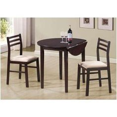 Monarch Specialties Emelle 3 Piece Dining Table Set