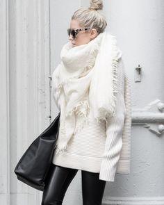 Winter Fashion: leggings, white sweater, blanket scarf, sunglasses, top knot.