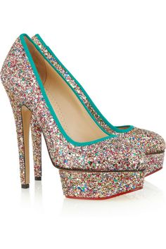 Charlotte Olympia Priscilla glitter-finished leather pumps – at THE OUTNET. Charlotte Olympia, High Heel Pumps, Platform Pumps, Pumps Heels, Stilettos, Glitter Pumps, Glitter Girl, Designer Pumps, Pumps