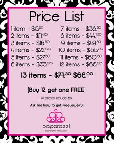 Paparazzi jewelry price list | Because of this sign I sold extra jewelry just because they were 1 or ...