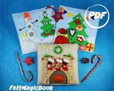 SET of 3 Pattern- Christmas tree, fireplace, Winter Fair Tale,PDF, Qui… Christmas Tree And Fireplace, Christmas Books, Diy Christmas Ornaments, Felt Christmas, Quite Book Patterns, Pdf Patterns, Crochet Patterns, Activity Books For Toddlers, Sensory Book