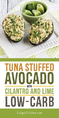 When it's really hot and you don't want to turn on the stove, this Tuna Stuffed Avocado with Cilantro and Lime is perfect for lunch or a light dinner! dinner recipes Tuna Stuffed Avocado with Cilantro and Lime – Kalyn's Kitchen Avocado Dessert, Avocado Salad Recipes, Avacado Snacks, Seafood Recipes, Diet Recipes, Cooking Recipes, Healthy Recipes, Cooking Games, Healthy Nutrition