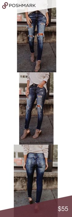 Distressed Fray Ankle Skinny Jeans Distressed skinnies with Lycra blend  *Picture shown with our Surplice Sweater* Jeans Skinny