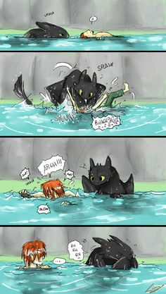 Swimming with Toothless. This is cute!! :D