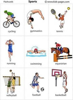 Kids Pages – Flashcards – Sports Kinderseiten – Lernkarten – Sport flashcards (Visited 4 times, 1 visits today) English Words, English Grammar, Teaching English, Learn English, English Language, Sport English, Flashcards For Kids, Printable Flashcards, Free Printable