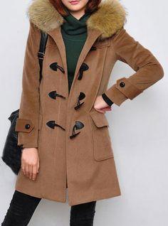 Camel Fur Hooded Long Sleeve Duffle Coat - Sheinside.com