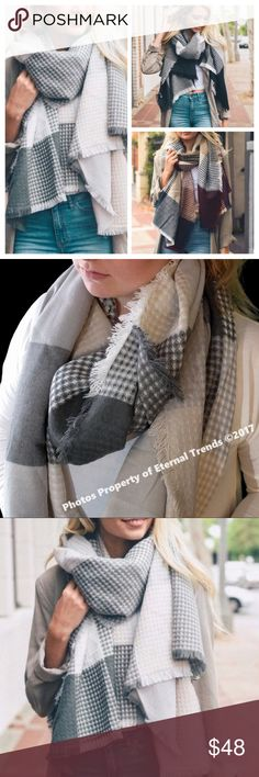 "Ultimately Soft Luxury Plaid Scarf/Wrap B/W/G The Ultimate in Softness & Luxury Long Plaid Scarf/Wrap in Black/White/Gray Available in Additional  Colors Dimension 79"" x 28"" 100% Acrylic Accessories Scarves & Wraps"