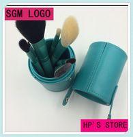Kit de viaje 7 unids hacen fresca green pelo de la cabra pinceles de maquillaje cosmético profesional