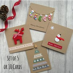 A set of 5 or 10 modern handmade Christmas cards created from buttons, ribbon and felt using premium quality card. Send those you love something special this holiday season. Adorable cards suitable for adults and children alike. Each design is lovingly created by myself and will