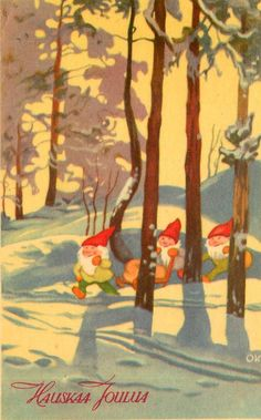 Julenisse/Tomte/Gnomes in a snowy forest.