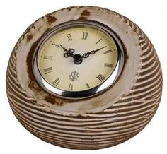 CAL LIGHTING AZTEC CERAMIC CLOCK WITH A MUSTELINE FINISH, $16.20