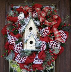 30 Deco Mesh Red BURLAP CHRISTMAS Wreath with a by decoglitz