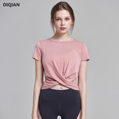 DIQIAN Women Crop Top Yoga Shirts Tank Tops Pink Short Sleeve Sports Tops  Loose O-neck Tees Workout Fitness Gym Sportswear
