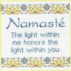 "Spiritual needlepoint - Namaste, ""The light within me honors the light within you"", hand-painted, 8"" x 8"" on 13 mesh canvas, made in Sedona, Arizona"