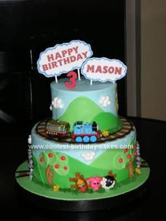 Homemade Thomas the Tank Engine Birthday Cake: I made this Thomas the Tank Engine cake for my son's third birthday.  He is a huge fan of Thomas and Friends and wanted a Thomas-themed cake.  This was