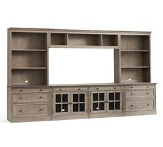 Livingston large entertainment center with drawers pottery barn. Livingston, Large Entertainment Center, Entertainment Room, Studio Apartments, Double Glass Doors, Glass Cabinet Doors, Glass Cabinets, Small Drawers, Grey Wash