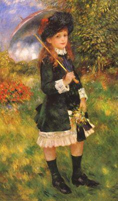 Tableaux sur toile, reproduction de Renoir, Girl With A Parasol, 130x79cm
