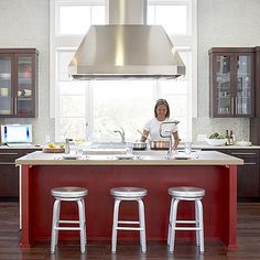Red kitchen island - Great Kitchen Design Ideas - Sunset