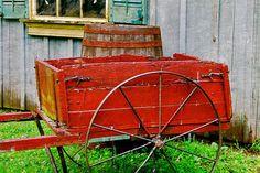 8 x 12 Fine Art Print Cart Red Farmhouse by APCphotocreations, $35.00