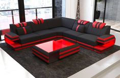 Modern Sectional Fabric Sofa San Antonio L Shape with LED Corner Sofa Design, Sofa Bed Design, Living Room Sofa Design, Home Room Design, Living Room Designs, Sofa Furniture, Luxury Furniture, Coaster Furniture, Furniture Design