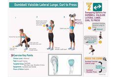 Full Body Exercise: Dumbbell Valslide Lateral Lunge, Curl to Press by Fitwire Gym.  #workout #exercise #Valslide #fitness