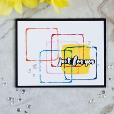 Altenew Watercolor Frames - squares. Card by @craftwalks