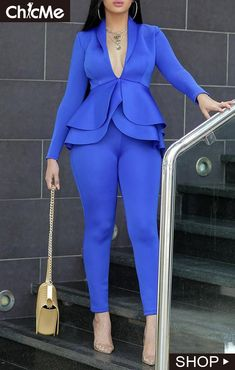 Cheap Cheap Two-piece Pants Set Lovely Work Deep V Neck Layered Blue Two-pie Cheap Two-piece Pants Set Lovely Work Deep V Neck Layered Blu. Casual Suit, White Casual, Looks Chic, Womens Fashion Online, 50 Fashion, Office Ladies, Pattern Fashion, African Fashion, Work Wear