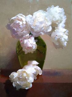 Dennis Perrin White Peonies in Ballerina Vase oil on linen: