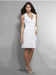 White Sleeveless Wrap Dress
