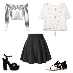 """black skater skirt"" by aeimre on Polyvore featuring MANGO, Forever 21, Not Rated, Topshop and Cape Robbin"