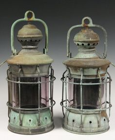 Late 19th c Anchor Lamps with tag 'M'f'r'd by Perkins Marine Lamp Corp, Brooklyn, New York