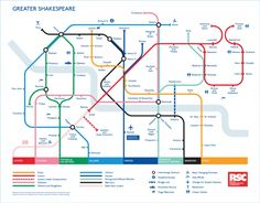 A very cool London Tube map of Shakespeare plays and characters